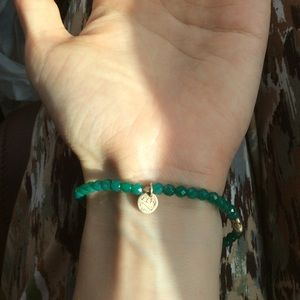 Anthropologie Jewelry - Real Silver Peace Hand Teal Crystal Bracelet